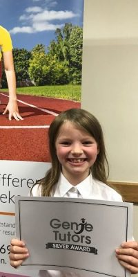 This is Maisie at Genie Tutors Redditch! She has been working very hard with her tutor, Gemma, at her English and maths. The silver award is a fabulous achievement. 👍😀🏆