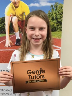 Madison at Genie Tutors Reditch is working really hard and has achieved her Bronze award. Her tutor is delighted with the effort and enthusiasm she puts into her work and we are seeing progress already. Congratulations.