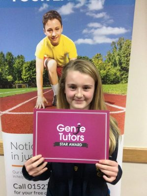 Congratulations to Kyla for climbing her way through all our awards to the coveted Star Award. Well done for working hard and achieving well across both maths and English with Theresa at Genie Tutors Bromsgrove. 😀