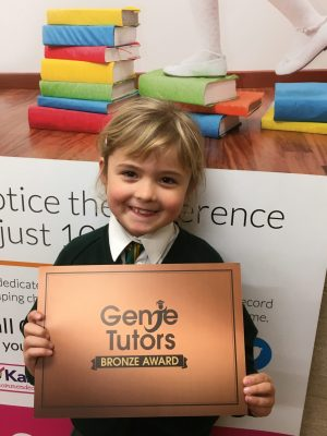 Congratulations to Scarlett for achieving her Bronze award at Genie Tutors Bromsgrove. Great effort and achievement in maths particularly! 😀