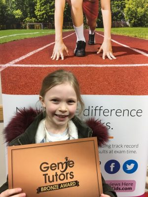 Well done Jessica on achieving your Bronze award. You have made fantastic progress with your tutor Gemma at Genie Tutors Redditch.