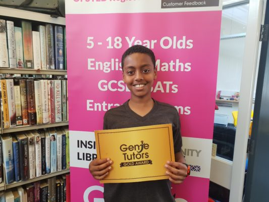 Well done John! Congratulations on your Gold Reward, you deserve it with your hard work at Genie Tutors King's Heath!