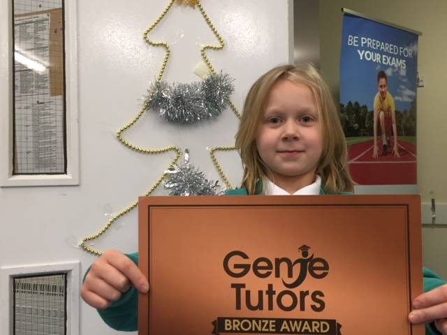 Mia worked hard for for Bronze award at GEnie Tutors Eastborne