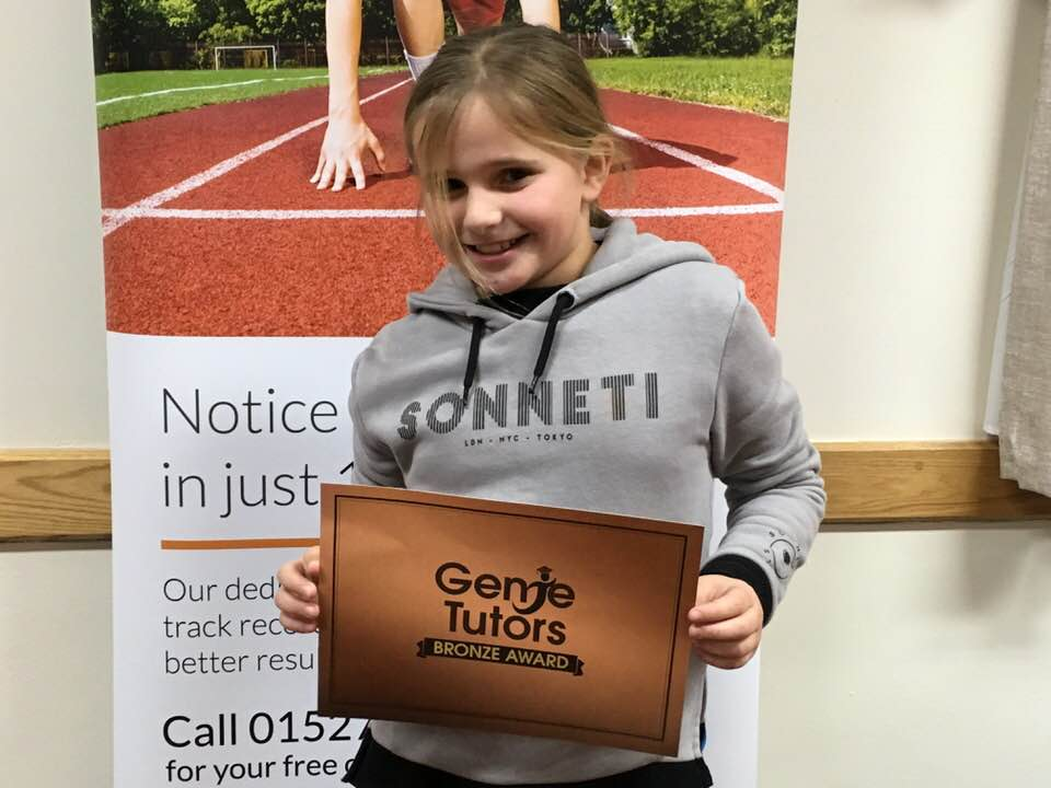 Niamh we are pleased with your achievement at Genie Tutors Redditch