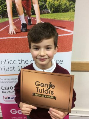 Congratulations to Jake for achieving his Bronze award with Gemma at Genie Tutors Redditch. Brilliant maths and English! 👍
