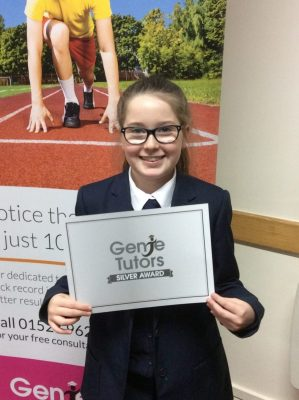 This is Maria. She attends Genie Tutors Redditch and has been working brilliantly with her tutor Theresa and so deserves her Silver Award. Congratulations!