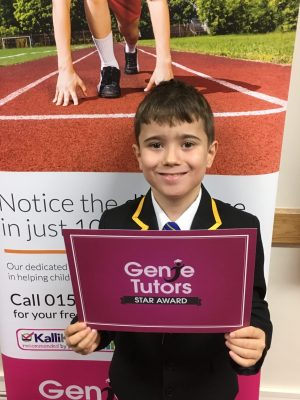 This is Radi who attends Genie Tutors Redditch. He's just achieved his Star award which is s fantastic achievement due to his effort and determination. 👍